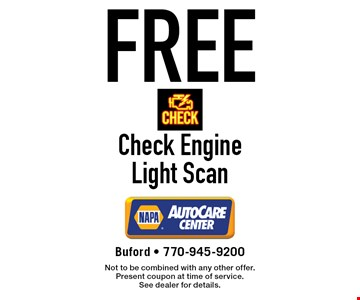 Free Check Engine Light Scan. Not to be combined with any other offer. Present coupon at time of service. See dealer for details.
