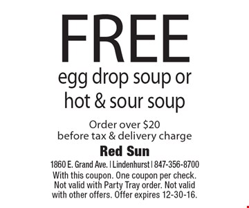 FREE egg drop soup or hot & sour soup Order over $20 before tax & delivery charge. With this coupon. One coupon per check. Not valid with Party Tray order. Not valid with other offers. Offer expires 12-30-16.