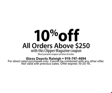 10%offAll Orders Above $250with this Clipper Magazine coupon Must present coupon at time of order.. Glass Depots Raleigh - 919-747-4694For direct retail purchases only. Cannot be combined with any other offer.  Not valid with previous sales. Offer expires 10-25-16.