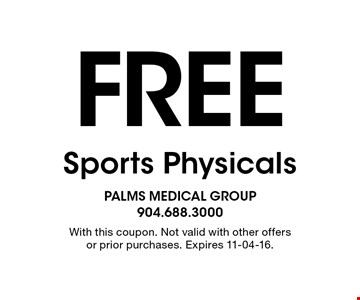 Free Sports Physicals. With this coupon. Not valid with other offers or prior purchases. Expires 11-04-16.