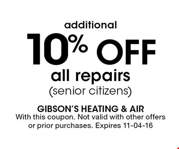 10% Off all repairs(senior citizens). With this coupon. Not valid with other offers or prior purchases. Expires 11-04-16