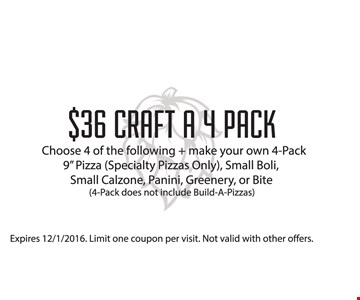 $36 Craft a 4 pack. Choose 4 of the following and make your own 4-pack. 9
