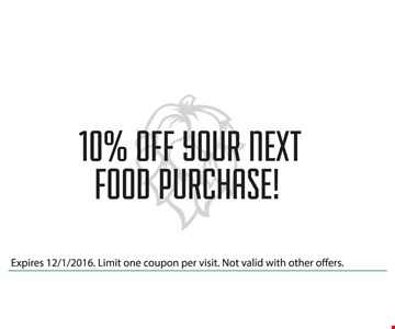 10% Off Your next food purchase. Expires 12/1/16. Limit one coupon per visit. Not valid with other offers.