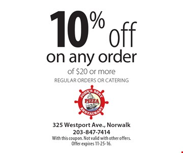 10% off on any order of $20 or more. Regular orders or catering. With this coupon. Not valid with other offers. Offer expires 11-25-16.