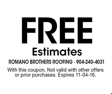 Free Estimates. With this coupon. Not valid with other offers or prior purchases. Expires 11-04-16.