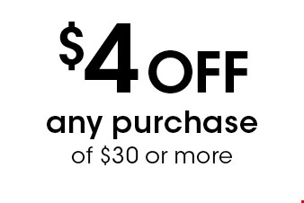 $4 Off any purchase of $30 or more. Liquor not included. With this coupon. Not valid with To-Go orders, other offers or prior purchases. Expires 11-11-16.