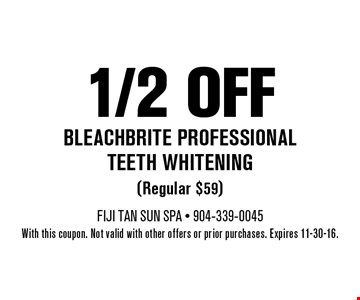 1/2 off Bleachbrite professional teeth whitening. With this coupon. Not valid with other offers or prior purchases. Expires 11-30-16.