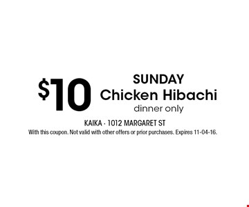 $10 With this coupon. Not valid with other offers or prior purchases. Expires 11-04-16.