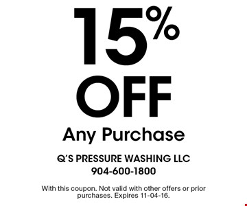 15%off Any Purchase. With this coupon. Not valid with other offers or prior purchases. Expires 11-04-16.