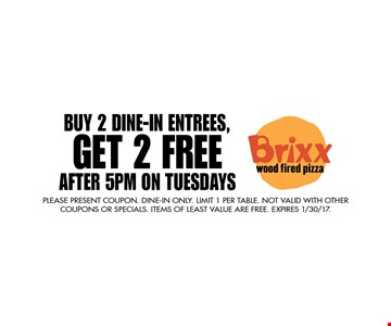 BUY 2 DINE-IN ENTREES, GET 2 FREE. AFTER 5PM ON TUESDAYS. Please present coupon. Dine-in only. Limit 1 per table. Not valid with othercoupons or specials. Items of least value are free. Expires 1/30/17.