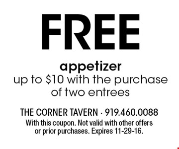 Free appetizer up to $10 with the purchase of two entrees. With this coupon. Not valid with other offers or prior purchases. Expires 11-29-16.