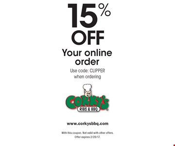 15% off Your online order Use code: CLIPPER when ordering. With this coupon. Not valid with other offers. Offer expires 2/28/17.