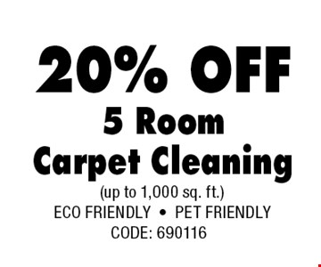 20% OFF 5 Room Carpet Cleaning.