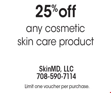 25% off any cosmetic skin care product. Limit one voucher per purchase.