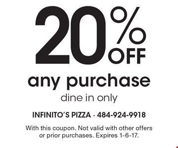 20% OFF any purchase dine in only. With this coupon. Not valid with other offers or prior purchases. Expires 1-6-17.