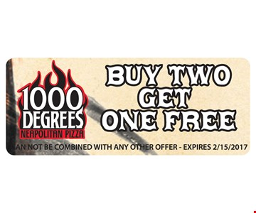 Buy 2 get 1 free. Cannot be combined wth any other offer. Expires 2/15/17.