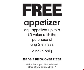 Free appetizer. Any appetizer up to a $9 value with the purchase of any 2 entrees. Dine-in only. With this coupon. Not valid with other offers. Expires 2-6-17.