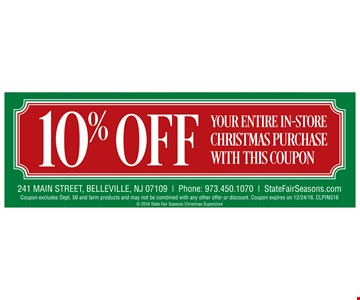 10% OFF Your Entire In-Store Christmas Purchase