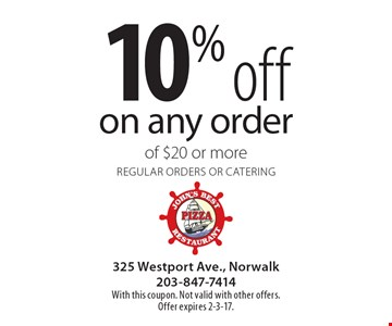 10% off on any order of $20 or more. Regular orders or catering. With this coupon. Not valid with other offers. Offer expires 2-3-17.