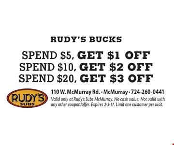 Rudy's Bucks! Spend $5, get $1 off OR Spend $10, get $2 off OR Spend $20, get $3 off. Valid only at Rudy's Subs McMurray. No cash value. Not valid with any other coupon/offer. Expires 2-3-17. Limit one customer per visit.