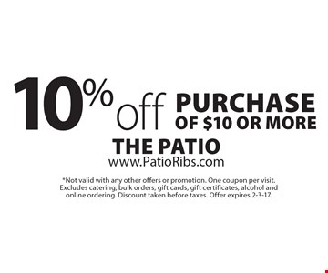 10% off purchase of $10 or more. *Not valid with any other offers or promotion. One coupon per visit. Excludes catering, bulk orders, gift cards, gift certificates, alcohol and online ordering. Discount taken before taxes. Offer expires 2-3-17.