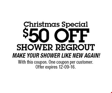 $50 OFF With this coupon. One coupon per customer.Offer expires 12-09-16.