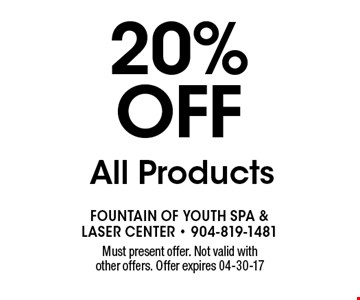 20% off All Products. Must present offer. Not valid with other offers. Offer expires 04-30-17