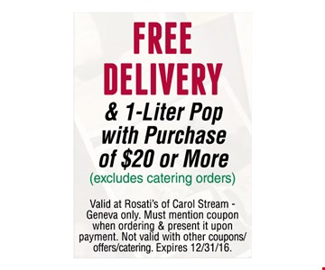 Free Delivery & 1-Liter Pop With Purchase Of $20 Or More