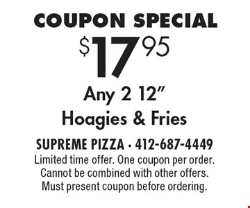 Coupon Special $17.95 Any 2 12