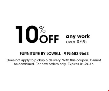 10% Off any workover $795. Does not apply to pickup & delivery. With this coupon. Cannot be combined. For new orders only. Expires 01-24-17.