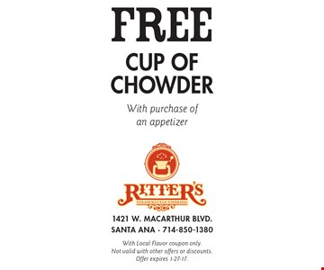 Free cup of chowder with purchase of an appetizer. With Local Flavor coupon only. Not valid with other offers or discounts. Offer expires 1-27-17.