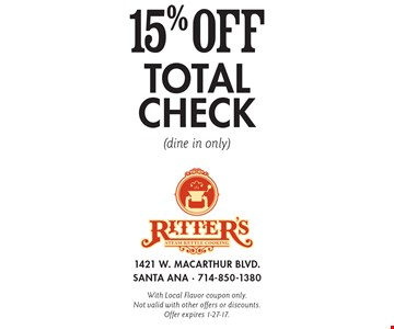 15% off total check (dine in only). With Local Flavor coupon only. Not valid with other offers or discounts. Offer expires 1-27-17.
