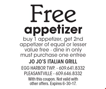 Free appetizer buy 1 appetizer, get 2nd appetizer of equal or lesser value free - dine in only must purchase one entree. With this coupon. Not valid with other offers. Expires 6-30-17.