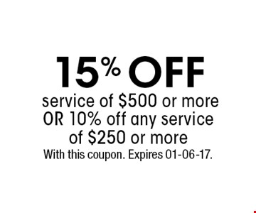15% OFFservice of $500 or moreOr 10% off any serviceof $250 or more. With this coupon. Expires 01-06-17.