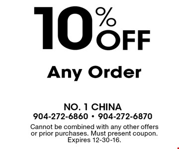 10% Off Any Order. Cannot be combined with any other offers or prior purchases. Must present coupon. Expires 12-30-16.
