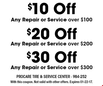 $10 Off Any Repair or Service over $100. With this coupon. Not valid with other offers. Expires 01-22-17.