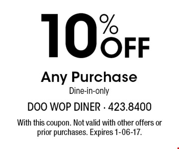 10% Off Any Purchase Dine-in-only. With this coupon. Not valid with other offers or prior purchases. Expires 1-06-17.