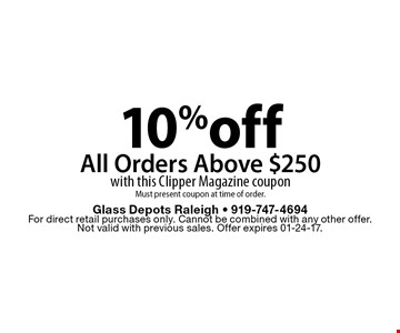 10%offAll Orders Above $250with this Clipper Magazine coupon Must present coupon at time of order.. Glass Depots Raleigh - 919-747-4694For direct retail purchases only. Cannot be combined with any other offer.  Not valid with previous sales. Offer expires 01-24-17.