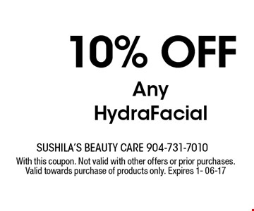 10% off Any HydraFacial. With this coupon. Not valid with other offers or prior purchases. Valid towards purchase of products only. Expires 1- 06-17