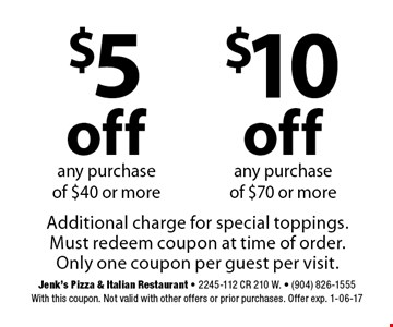 $5off$10offany purchase of $40 or moreany purchase of $70 or more . Jenk's Pizza & Italian Restaurant - 2245-112 CR 210 W. - (904) 826-1555With this coupon. Not valid with other offers or prior purchases. Offer exp. 1-06-17