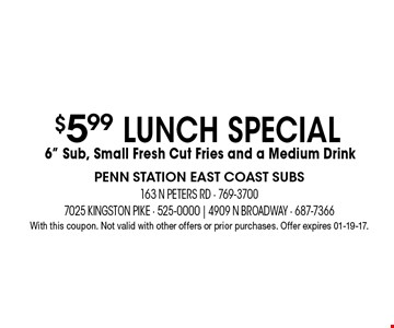 $5.99 lunch special 6