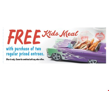 Free Kids Meal with purchase of two regular priced entrees. Dine in only. Cannot be combined with any other offers. Exp. 01-21-17