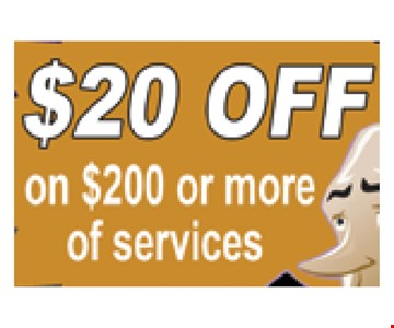 $20 off on $200 or more of services.