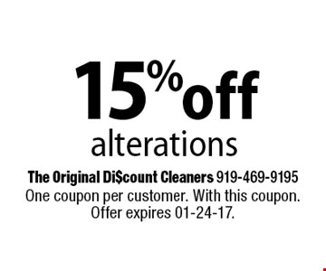 15% offalterations. One coupon per customer. With this coupon. Offer expires 01-24-17.
