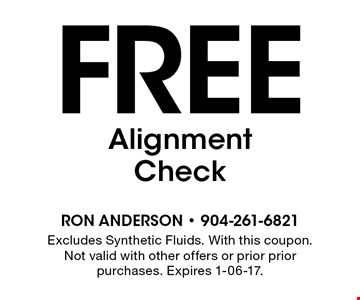 Free AlignmentCheck. Excludes Synthetic Fluids. With this coupon. Not valid with other offers or prior prior purchases. Expires 1-06-17.