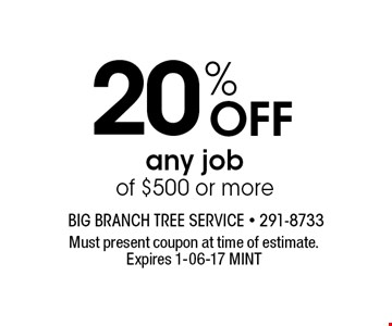 20% Off any job of $500 or more. Must present coupon at time of estimate. Expires 1-06-17 MINT