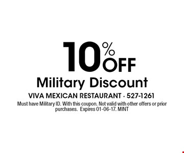 10% Off Military Discount. Must have Military ID. With this coupon. Not valid with other offers or prior purchases.Expires 01-06-17. MINT