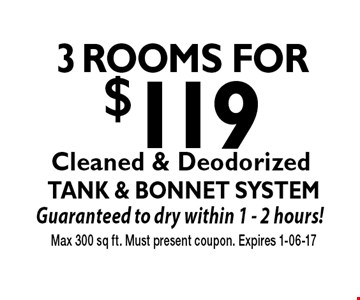 3 Rooms for $119 Max 300 sq ft. Must present coupon. Expires 1-06-17Cleaned & Deodorized