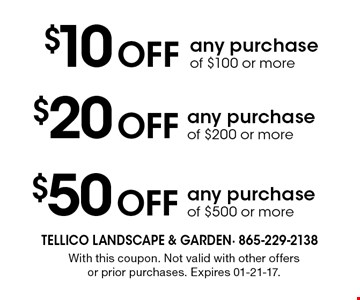 $10 Off any purchase of $100 or more. With this coupon. Not valid with other offers or prior purchases. Expires 01-21-17.