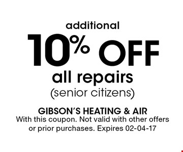 10% Off all repairs(senior citizens). With this coupon. Not valid with other offers or prior purchases. Expires 02-04-17